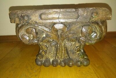 Antique Victorian Carved Oak Newel Post Column Architectural Salvage
