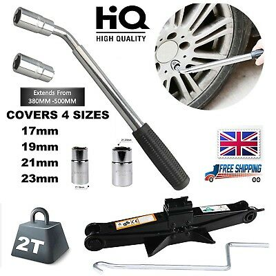 Extendable Wheel Brace Wrench Telescopic Car Van Socket Tyre Nut W/ Scissor Jack