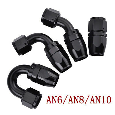 Straight Elbow 45 90 180 Degree Swivel Hose End Fitting Black For Braided Hose