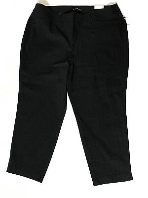 Plus Size Womens Dress Pants Pull On Stretch Textured Black Cropped