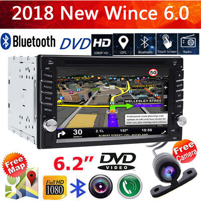 Double 2 Din GPS sat nav in-car stereo Bluetooth SD USB FM Radio GPS DVD Player