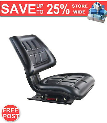 PU Leather Tractor Seat with Sliding Track Black