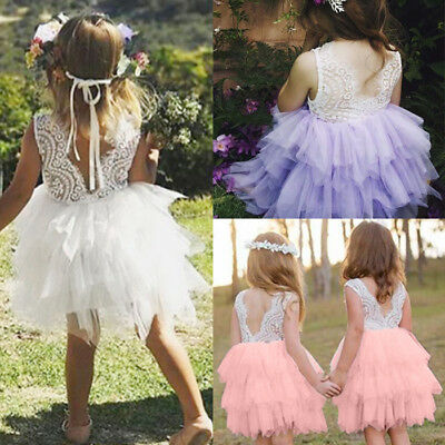 Kids Infant Baby Girl Lace Princess Pageant Christening Party Wedding Dress 0-5Y