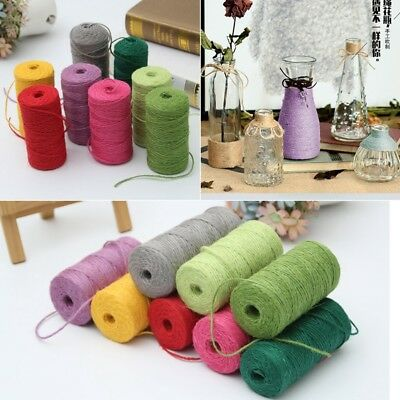 100M/Roll 3 Ply Coloured Jute Twine Gift Garden Burlap Craft string cord UK Made