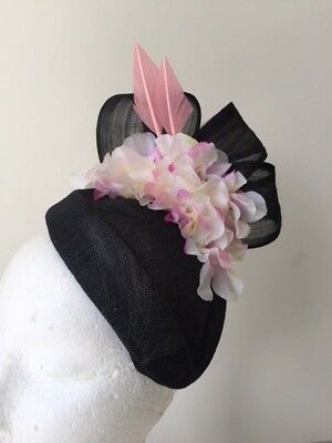 NEW black fascinator with silk abaca loops, pink arrow feathers and hydrangers!