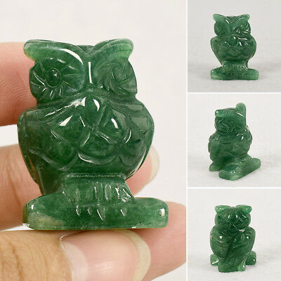 Natural Jade Green Aventurine Owl Animal Decor Figurine Hand Carving Crafts Gift