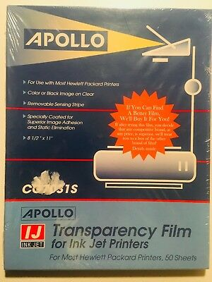 Apollo Clear Transparency Film For HP Inkjet Printers Removable Stripe Box of 50