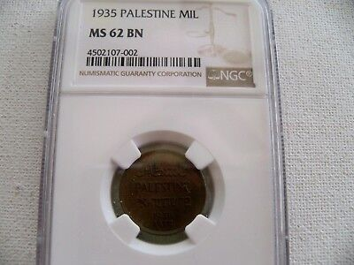 Palestine Mil, 1935 coin NGC MS 62 BN