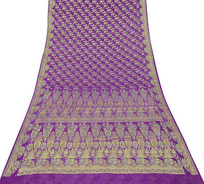 Indian Ethnic Vintage Saree Pure Silk Woven Purple Antique Fabric Craft Sari.