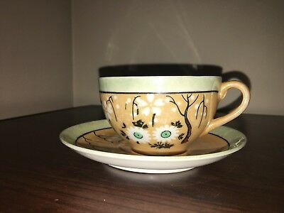 hand painted japanese tea cup and saucer