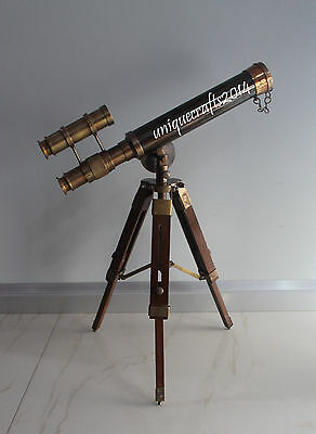 """Antique Nautical Telescope Double Barrel 14"""" With Wooden Stand Ship Instrument."""