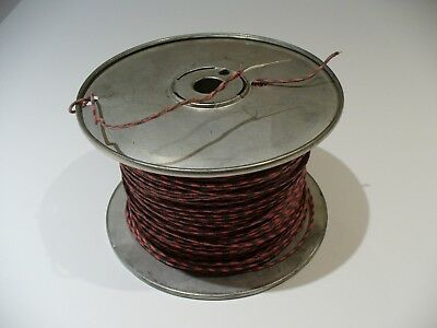 Western Electric Switchboard Wire 24AWG  Spool~ Reel Cloth Solid Core BK/Rd