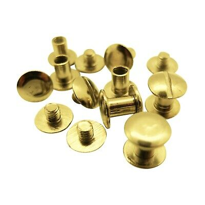 Book Binding Screws - Brass-coloured - Chicago Screws - 10mm head, 5mm hole