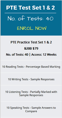 PTE Academic PTE Practice Test Set  No. of Tests: 40 | Access with answer