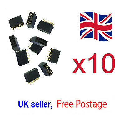 10pcs 2x5 10 pin 2.54mm Double Row Female Straight Header Pitch Socket Pin Strip