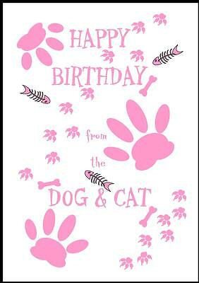 Novelty Happy Birthday Greeting Card From The Dog & Cat - 2P - Own Design