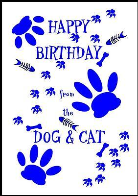 Novelty Happy Birthday Greeting Card From The Dog & Cat - 2B - Own Design