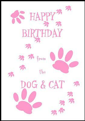 Novelty Happy Birthday Greeting Card From The Dog & Cat - 1P - Own Design