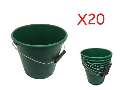 Pack Of 20 Green Plastic Calf Feed Buckets, Heavy Duty With Metal Handle