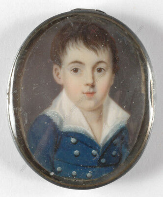"""""""Portrait of a noble boy"""", French miniature, ca. 1820"""