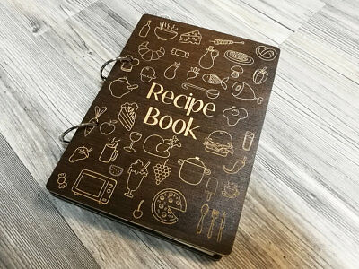 Recipe Book Wooden Recipe Journal Custom Cookbook Mom Wood Binder Gift for her