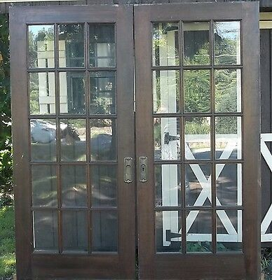 Excellent Condition Antique, Victorian, 15 Lite , Mahogany, Pocket Doors