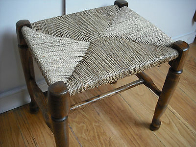 Georgian Style Seagrass Seat Elm Footstool [small/stool/seat/chair/rush/cane]