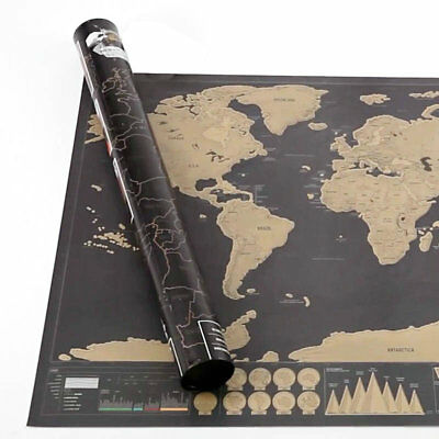 Scratch Off World Map Deluxe Edition Travel Log Journal Poster Wall Decor UK