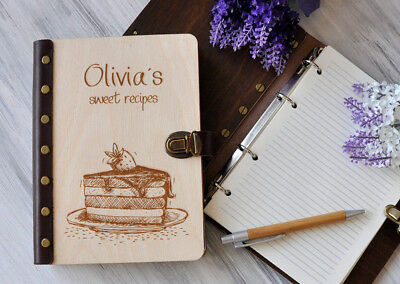 Personalized Recipe Book Mothers Day Gift Wood Recipes Journal Cookbook Notebook