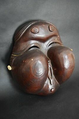 Japanese Antique Wood hand carve Okame Omen Mask