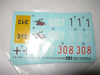1:35 Tiger I Late version 35146 TAMIYA Decal new