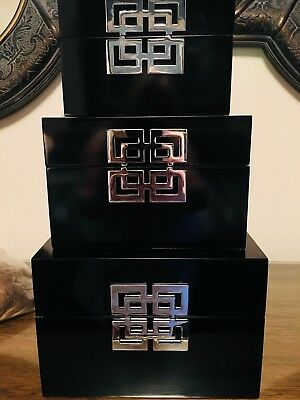 ASIAN BLACK, LACQUER WOOD 3 STACKING BOX /Silver Tone  Decorations. Never Used