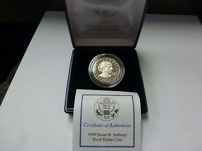 1999-P Susan B. Anthony Proof Dollar Coin OGP and COA