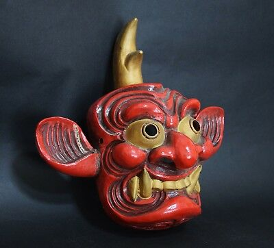 Japanese Antique red ceramic Mask Omen