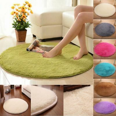 Soft Bath Bedroom Floor Shower Round Coral Fleece Mat Non-slip Home Decor Rug