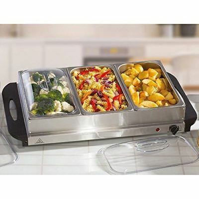 New 300W Large Electric Buffet Server 3 Warming Trays and Lids Hot Plate Warmer