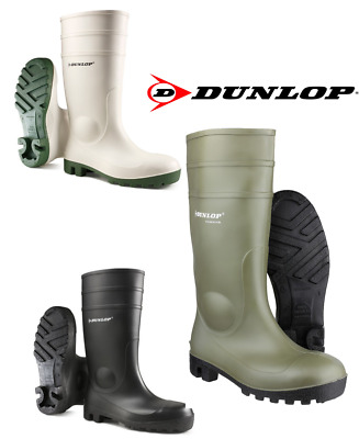 Dunlop Protomaster Full Site Safety Wellies Green,Black & White. Steel Toe cap