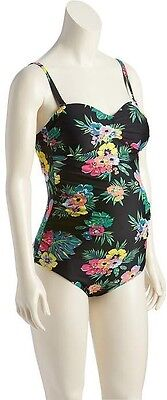 Old Navy Women's Sum. '17 Black Floral Maternity Bandeau Swim Suit M Medium NWT