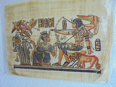 "Egypt King In Hunting Party Original Hand Painted Papyrus 12""X16"" FREE SHIPPING"