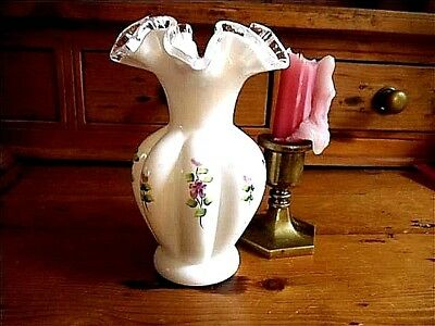Vintage Fenton Fluted Hand Painted Decorator Vase~Perfect Condition~Free Ship