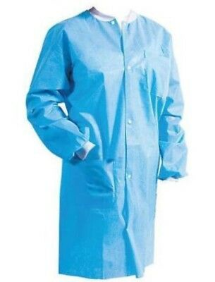 Disposable Protective Medical Lab Coat Gown Blue with Pockets 10/bag Choose size