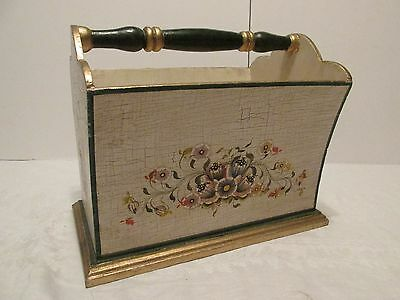 Hand Painted MAGAZINE RACK Floral Decorated Wood Carry Bin Bath Beauty Books Etc
