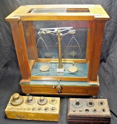 Vintage Becker's Son's Apothecary Scientific Precision Scale W/ 3 Weight Sets