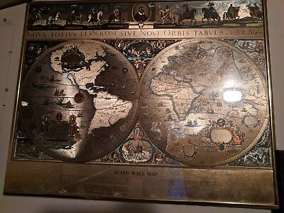 Vintage Gold Foiled Framed Blaeu Wall Map Print of Old and New World