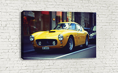 Classic Yellow Ferrari 250 Gt Berlinetta Vintage Canvas Wall Art