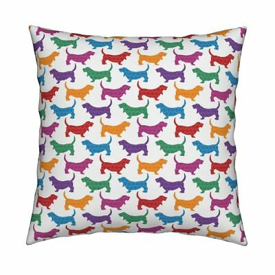 Bassets Ogee Basset Hound Throw Pillow Cover w Optional Insert by Roostery