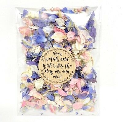 Pink, White, Blue Dried Biodegradable Wedding Confetti Petal Bags Packets