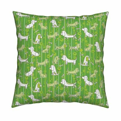 Basset Hound Dog Puppy Green Throw Pillow Cover w Optional Insert by Roostery