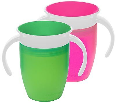 Munchkin Miracle 360 Trainer Cup, Green/Blue, 7 Ounce, 2 Count Toddler Handles
