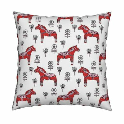 Dala Horse Dala Swedish Scandi Throw Pillow Cover w Optional Insert by Roostery